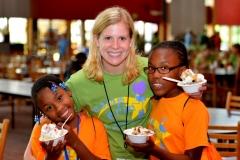 Volunteer w kids and ice cream
